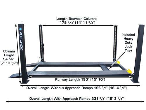 Atlas 409-HP Premium 9,000 Lbs. Capacity Portable 4 Post Lift (EXTRA TALL, EXTRA WIDE)