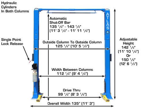 Atlas PV-9P Overhead 9,000 lbs. Capacity Adjustable Height 2 Post Lift