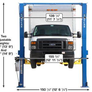 Atlas Apex 12 ALI Certified Overhead 12,000 lb. Capacity Adjustable Height 2 Post Vehicle Lift